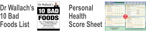 Dr Wallach's 10 Bad Foods List and Personal Health Score Sheet
